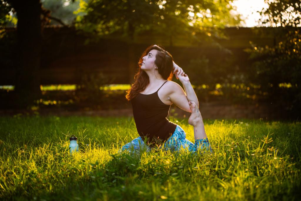 Mermaid pose Gaiam yoga pants